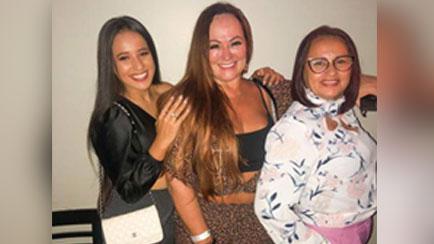 Ana Maria e Thalia Ramos viajaram da Paraíba para Santos para o encontro com Nadine
