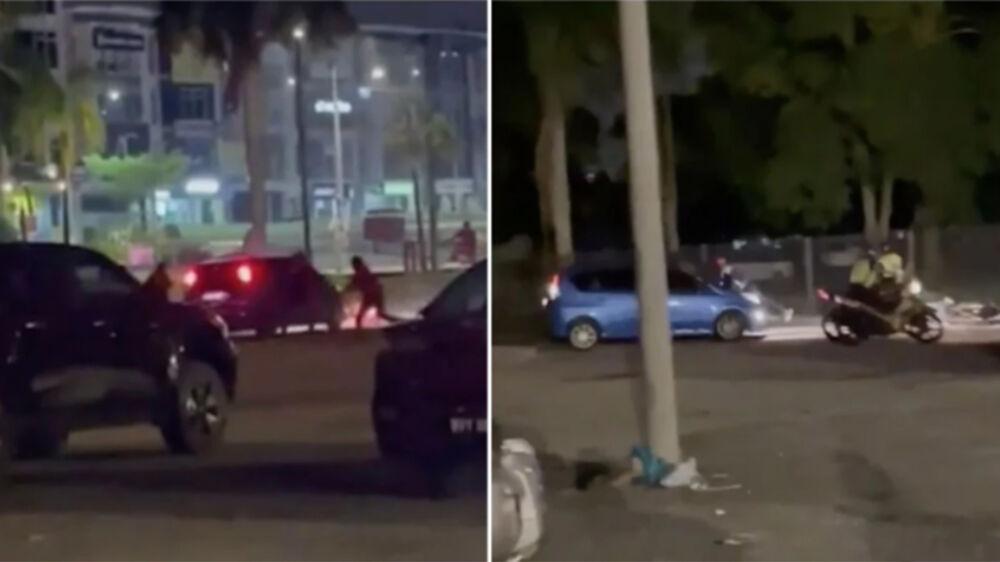 Imagem ilustrativa da notícia: Vídeo: casal é flagrado fazendo sexo e foge com policial agarrado pelo capô