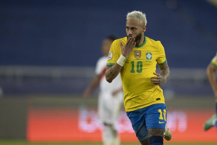 Neymar marcou no último jogo da Seleção