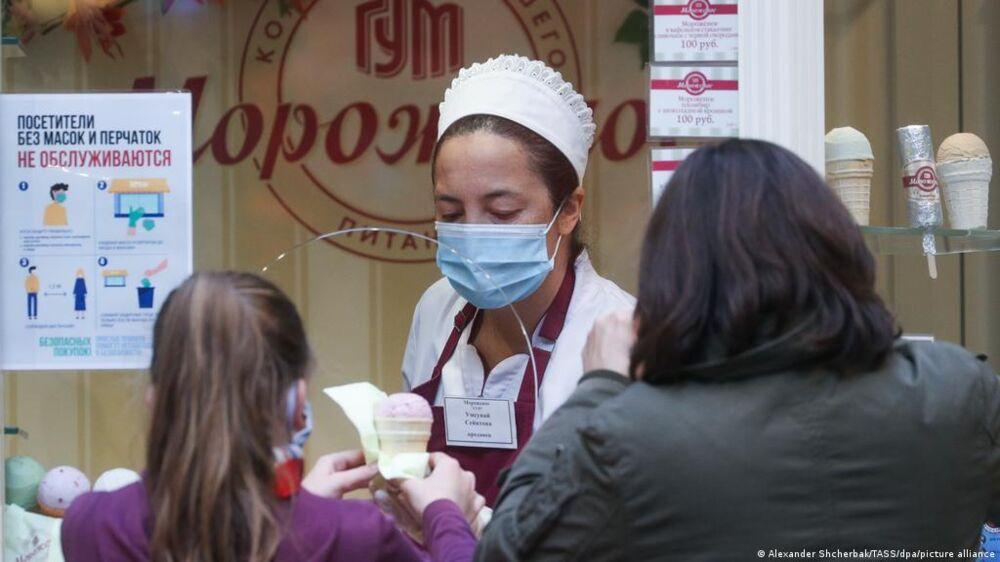 Um posto de vacinação contra a Covid-19 em Moscou.