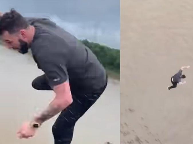 Imagem ilustrativa da notícia: VÍDEO: Homem pula em rio de crocodilos e é preso