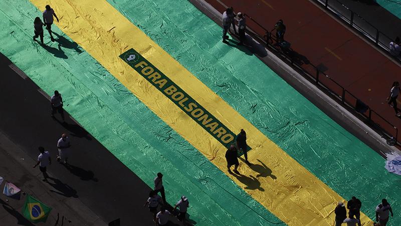 Manifestantes fazem ato contra Bolsonaro