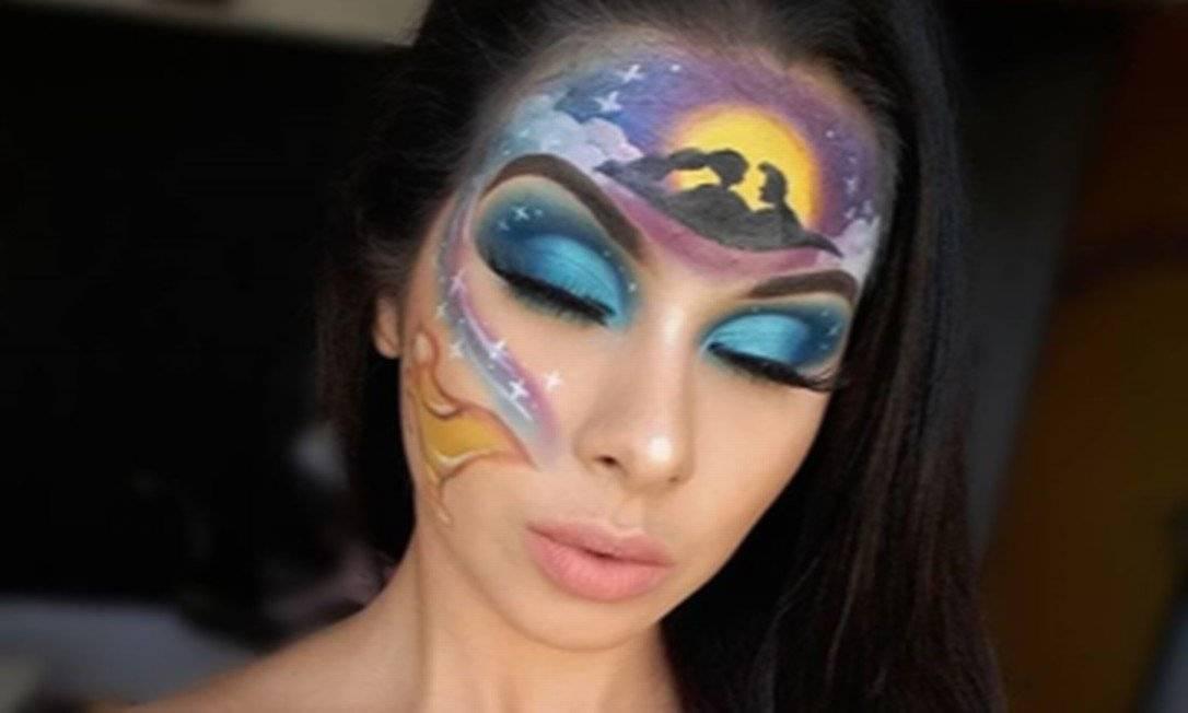 Além da pintura inspirada na Amazônia, Hosana já produziu outros maquiagens temáticas como esta do filme