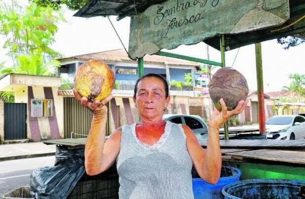 a orla esvaziada, Helena Azevedo lamenta os prejuízos com a venda de coco