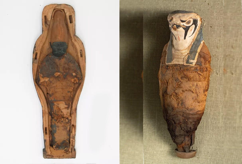 Artefato de Osíris e múmia em homenagem a Hórus: nenhum dos sarcófagos do museu continha restos humanos