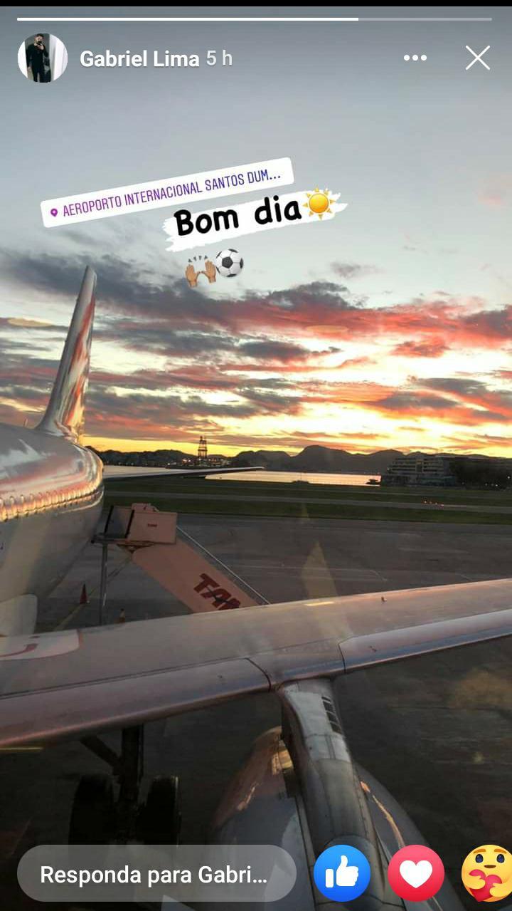 Gabriel postou o registro da viagem Rumo a Belém nas redes sociais.