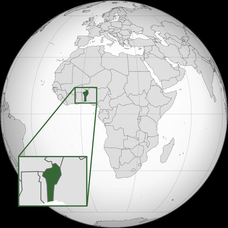 Localização da República do Benim no continente Africano