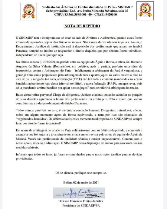Nota de repúdio do Sindicado dos Árbitros de Futebol do Estado do Pará.