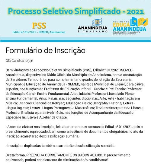 Candidato deverá preencher as informações no formulário disponibilizado pela Prefeitura de Ananindeua
