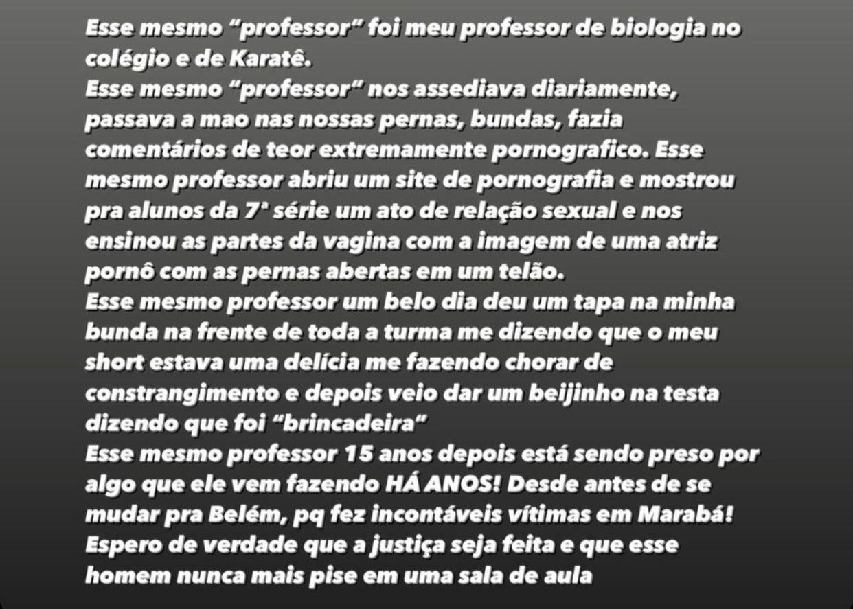 Post nos stories da vítima relata que outros abusos podem ter sido cometidos pelo professor Adalberto em ambiente escolar.