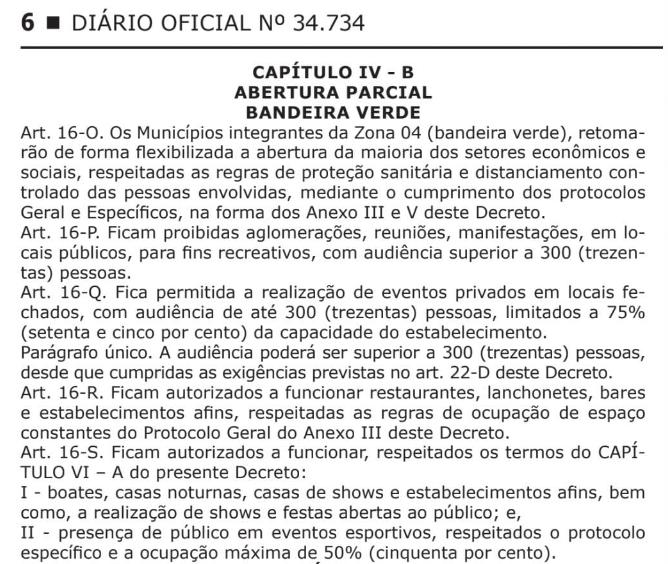 Publicação no Diário Oficial sobre o aumento do público.