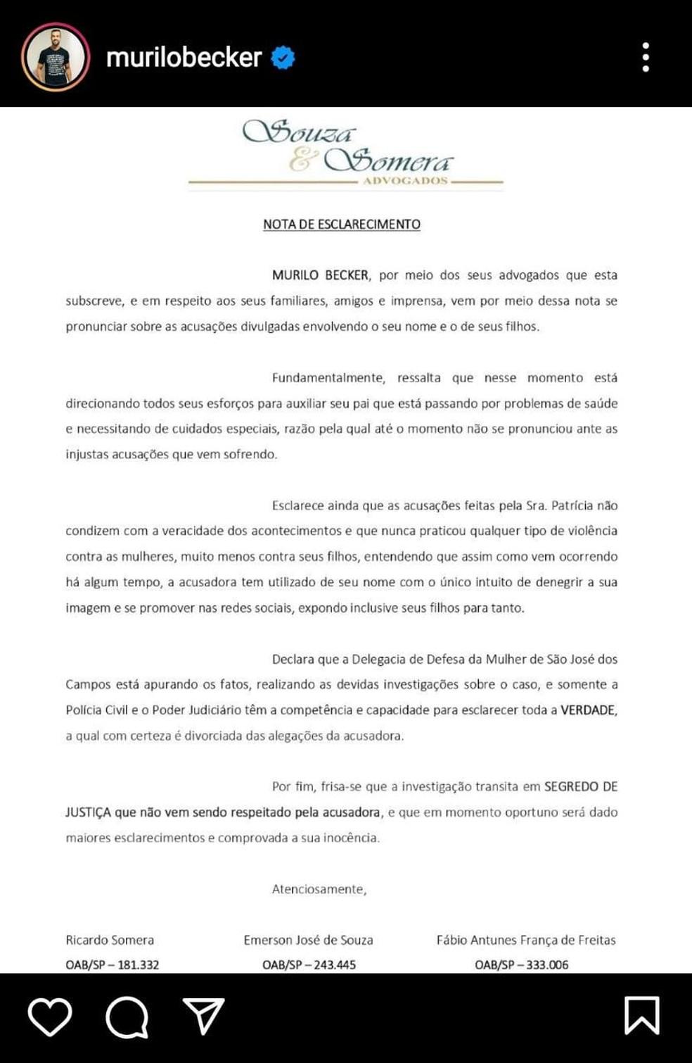Nota assinada pelos advogados do pivô Murilo Becker